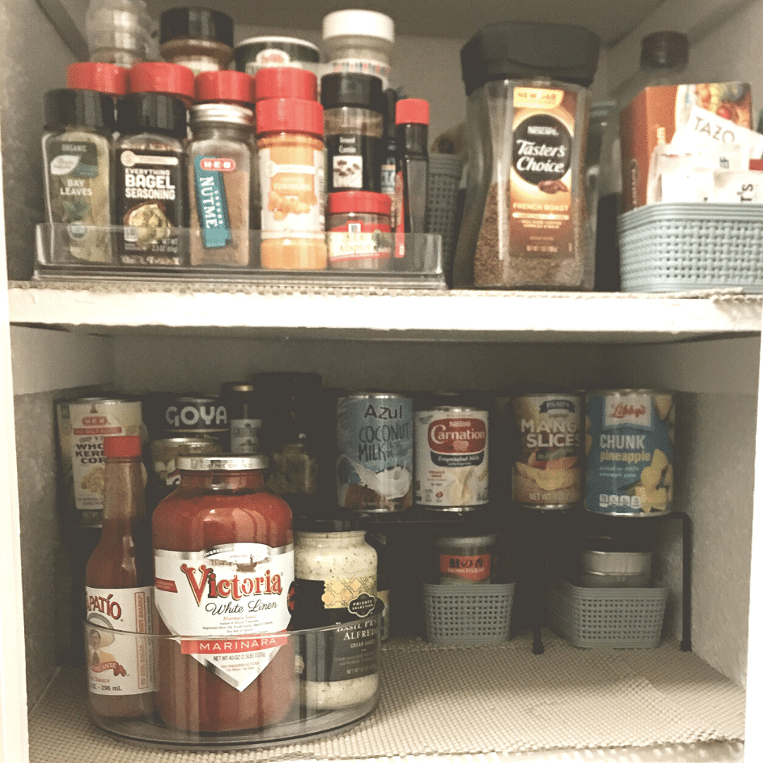 2 organized shelves in kitchen pantry