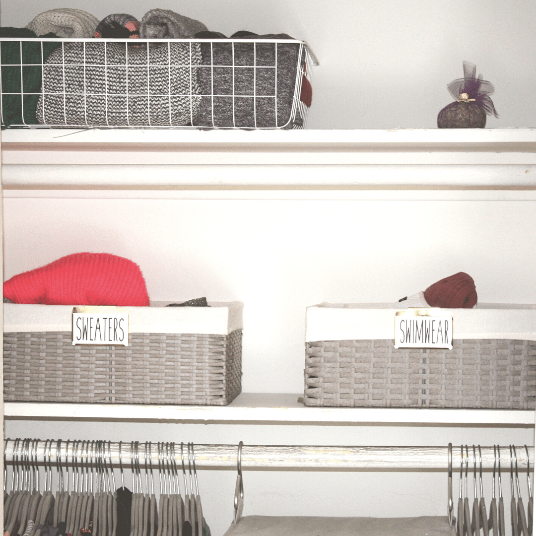small closet shelves & baskets
