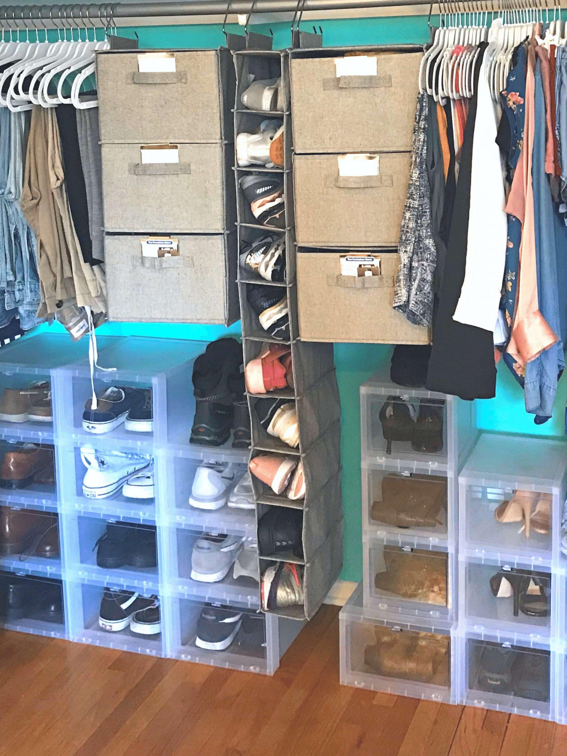 Melinda Grace Organizing Closet Redesign with teal paint, chrome hanging rod, shoe bins & hanging bins