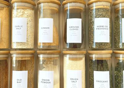 Melinda Grace Organizing_Spice Storage_Glass & Bamboo Lids